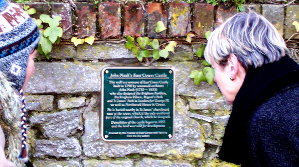 High Sheriff Gaye Edwards and the John Nash/ East Cowes Castle Plaque in Church Path